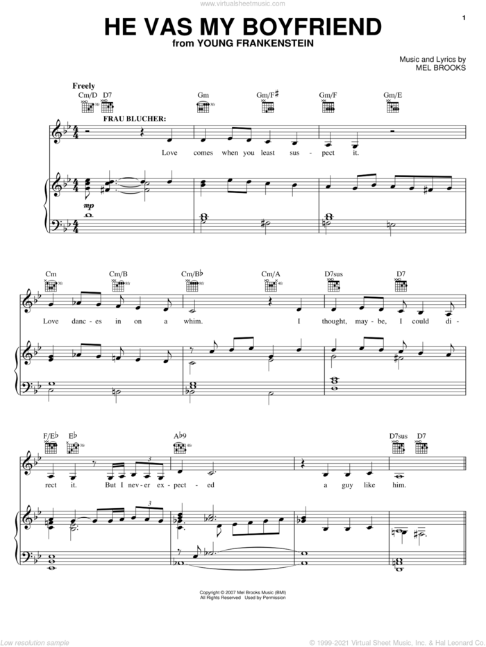 He Vas My Boyfriend sheet music for voice, piano or guitar by Mel Brooks, Young Frankenstein (Musical) and Thomas Meehan, intermediate skill level