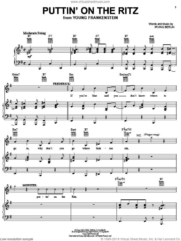 Puttin' On The Ritz sheet music for voice, piano or guitar by Mel Brooks, Young Frankenstein (Musical), Irving Berlin and Thomas Meehan, intermediate skill level