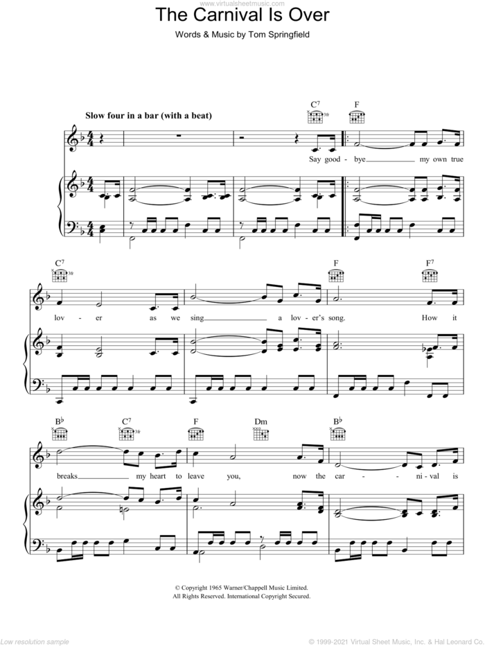 The Carnival Is Over sheet music for voice, piano or guitar by Tom Springfield, intermediate skill level