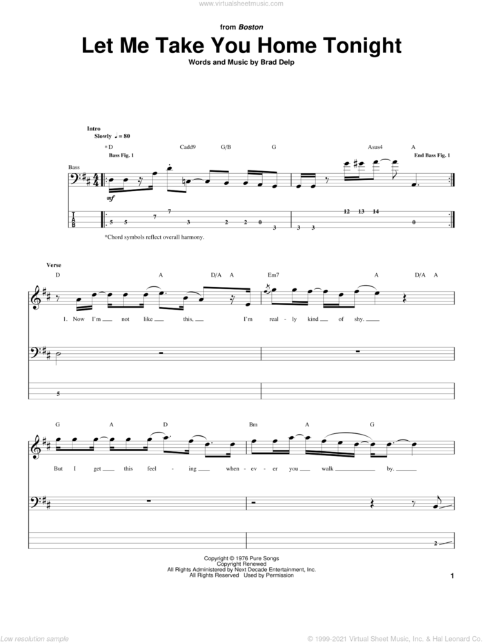 Let Me Take You Home Tonight sheet music for bass (tablature) (bass guitar) by Boston and Brad Delp, intermediate skill level