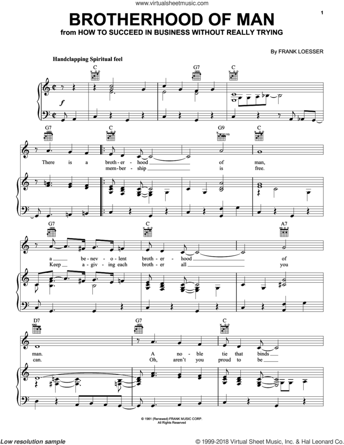 Brotherhood Of Man sheet music for voice, piano or guitar by Frank Loesser, intermediate skill level