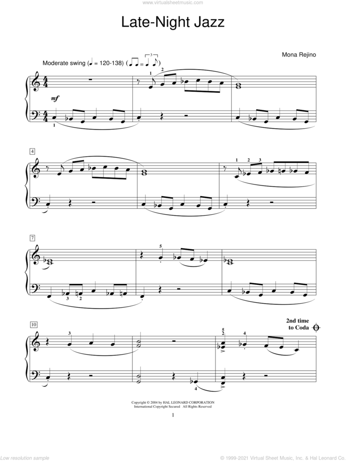 Late-Night Jazz sheet music for piano solo (elementary) by Mona Rejino and Miscellaneous, beginner piano (elementary)
