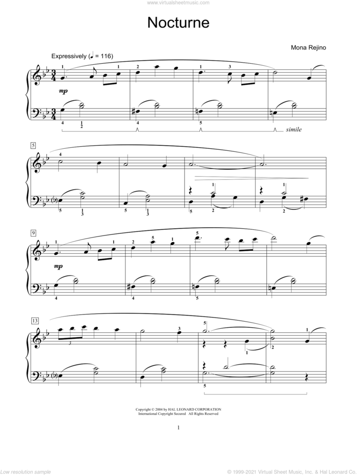 Nocturne sheet music for piano solo (elementary) by Mona Rejino and Miscellaneous, classical score, beginner piano (elementary)