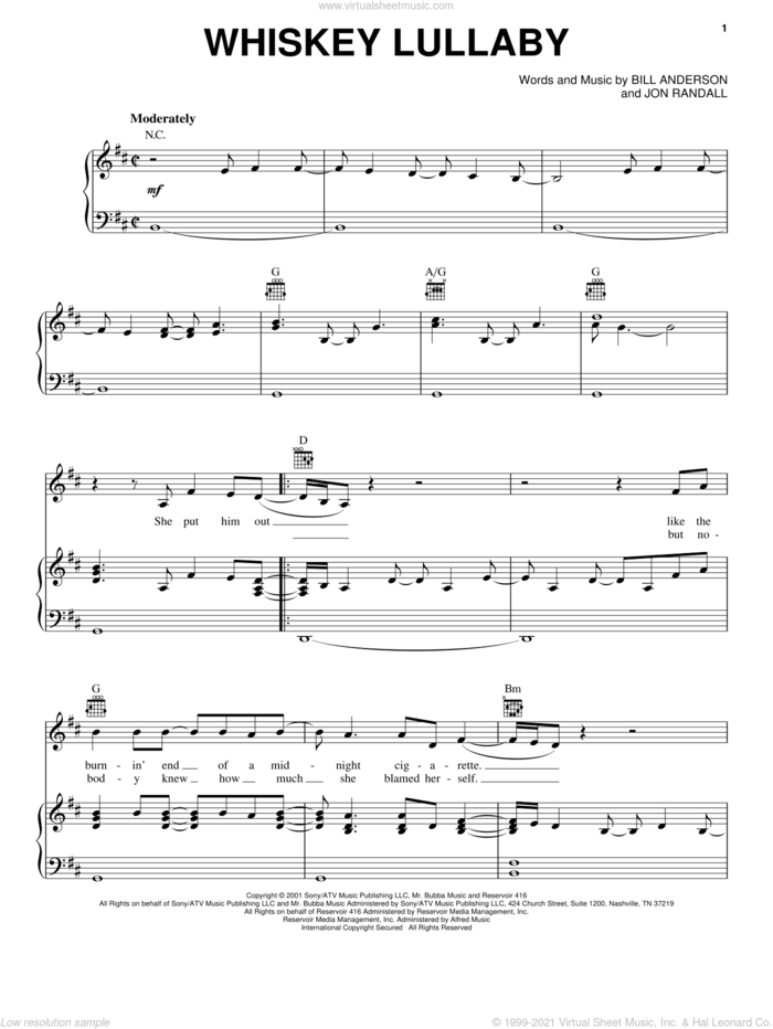 Whiskey Lullaby sheet music for voice, piano or guitar by Brad Paisley, Alison Krauss, Bill Anderson and Jon Randall, intermediate skill level