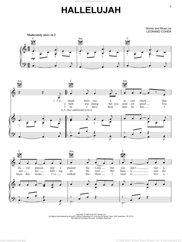 Hallelujah sheet music for voice, piano or guitar by Kate Voegele, Jeff Buckley, Rufus Wainwright, Shrek (Movie) and Leonard Cohen, intermediate skill level