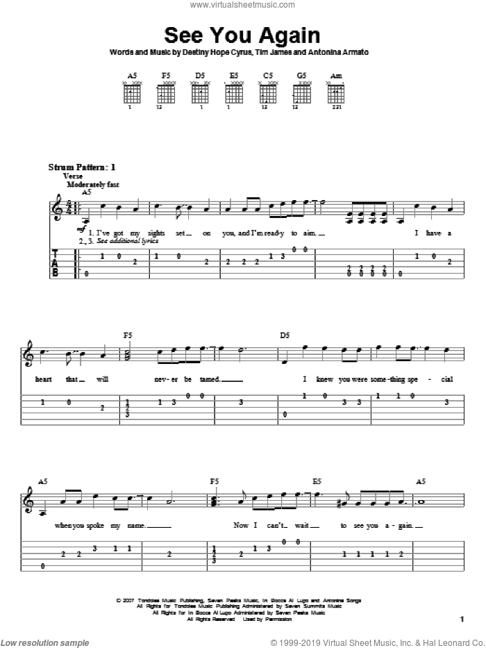 See You Again sheet music for guitar solo (easy tablature) by Miley Cyrus, Hannah Montana, Antonina Armato, Destiny Hope Cyrus and Tim James, easy guitar (easy tablature)