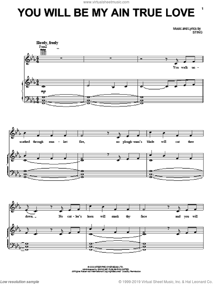 You Will Be My Ain True Love sheet music for voice, piano or guitar by Sting, Alison Krauss and Cold Mountain (Movie), intermediate skill level