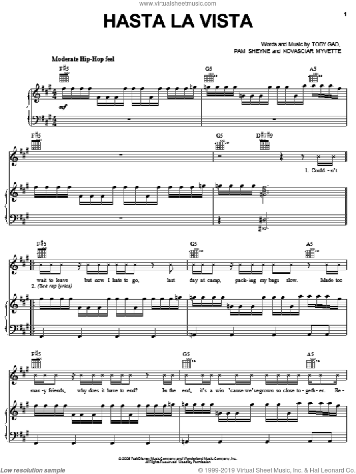 Hasta La Vista sheet music for voice, piano or guitar by Jordan Francis, Camp Rock (Movie), Jonas Brothers, Kovasciar Myvette, Pam Sheyne and Toby Gad, intermediate skill level