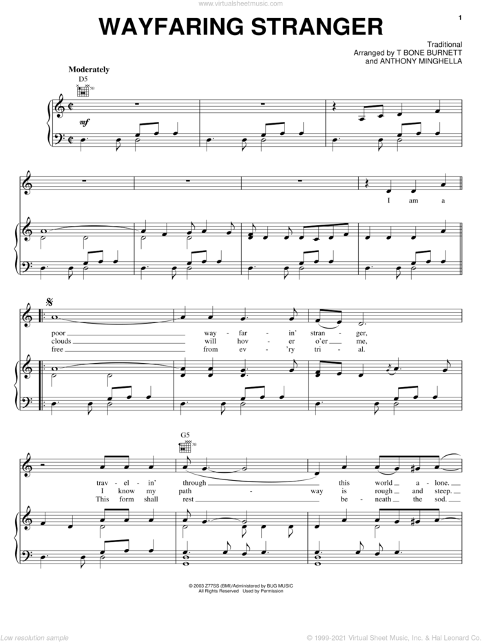 Wayfaring Stranger sheet music for voice, piano or guitar by Jack White, Cold Mountain (Movie), Johnny Cash, Anthony Minghella and T-Bone Burnett, intermediate skill level