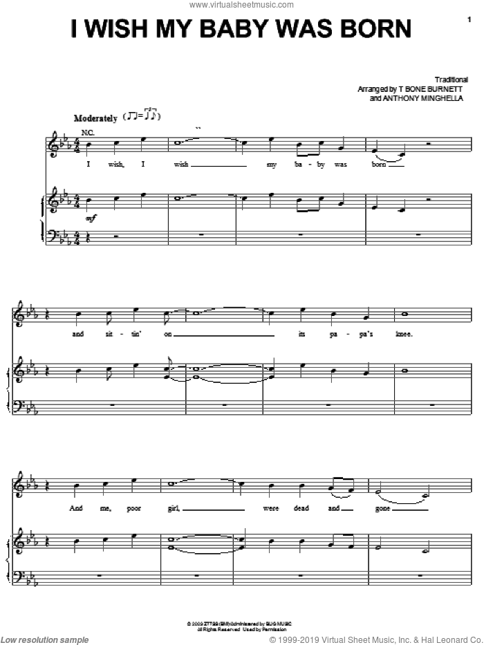 I Wish My Baby Was Born sheet music for voice, piano or guitar by Tim Eriksen, Cold Mountain (Movie), Riley Baugus, Anthony Minghella and T-Bone Burnett, intermediate skill level