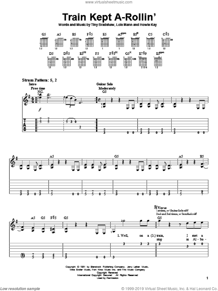 Train Kept A-Rollin' sheet music for guitar solo (easy tablature) by Aerosmith, Johnny Burnett, Howie Kay, Lois Mann and Tiny Bradshaw, easy guitar (easy tablature)