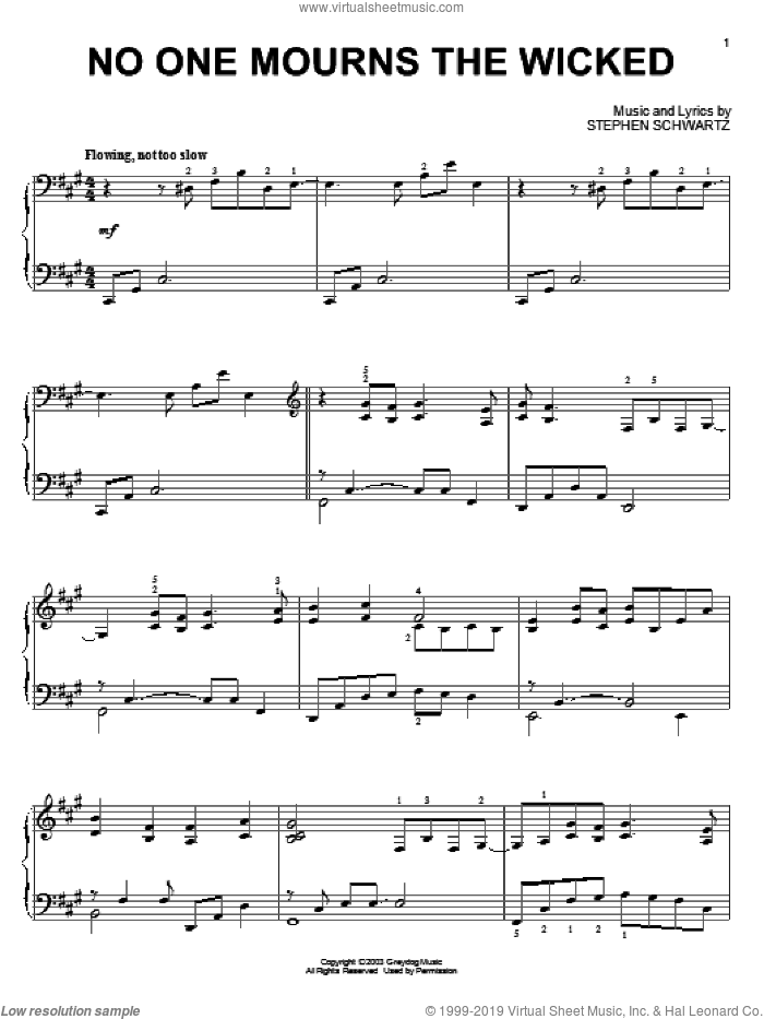 No One Mourns The Wicked (from Wicked), (intermediate) sheet music for piano solo by Stephen Schwartz and Wicked (Musical), intermediate skill level