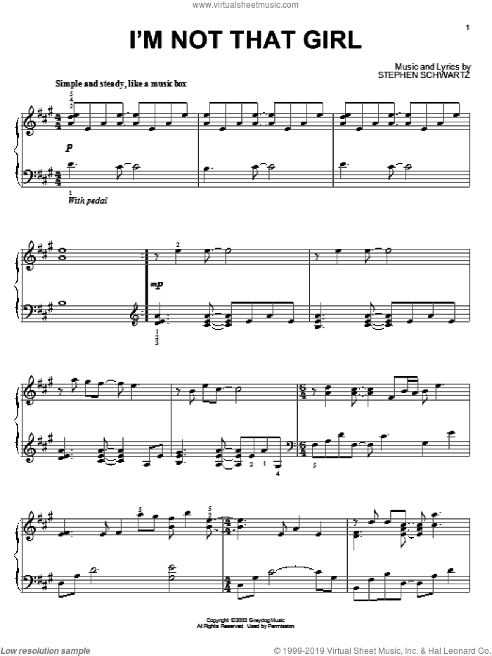 I'm Not That Girl (from Wicked) sheet music for piano solo by Stephen Schwartz and Wicked (Musical), intermediate skill level