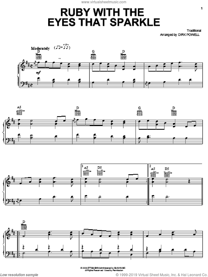 Ruby With The Eyes That Sparkle sheet music for voice, piano or guitar by Stuart Duncan, Cold Mountain (Movie) and Dirk Powell, intermediate skill level