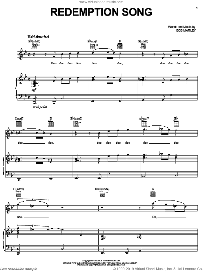 Redemption Song sheet music for voice, piano or guitar by Michael McDonald and Bob Marley, intermediate skill level