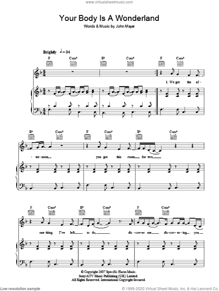 Your Body Is A Wonderland sheet music for voice, piano or guitar by John Mayer, intermediate skill level