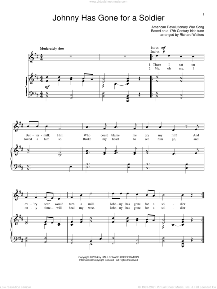 Johnny Has Gone For A Soldier sheet music for voice and piano, intermediate skill level