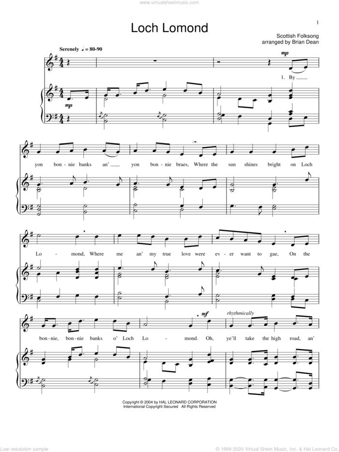 Loch Lomond sheet music for voice and piano, intermediate skill level