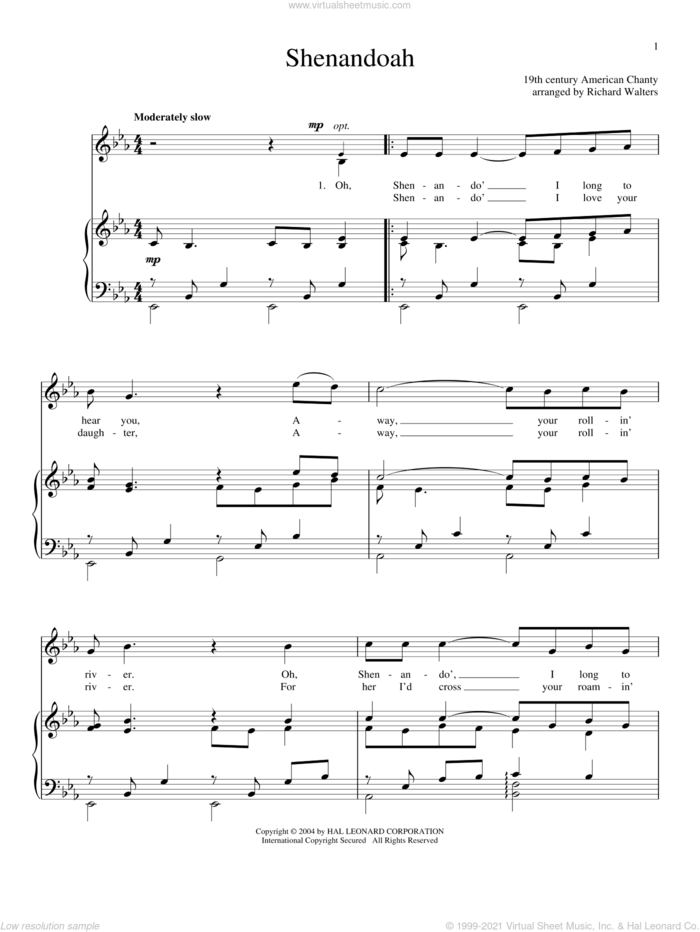 Shenandoah sheet music for voice and piano, intermediate skill level
