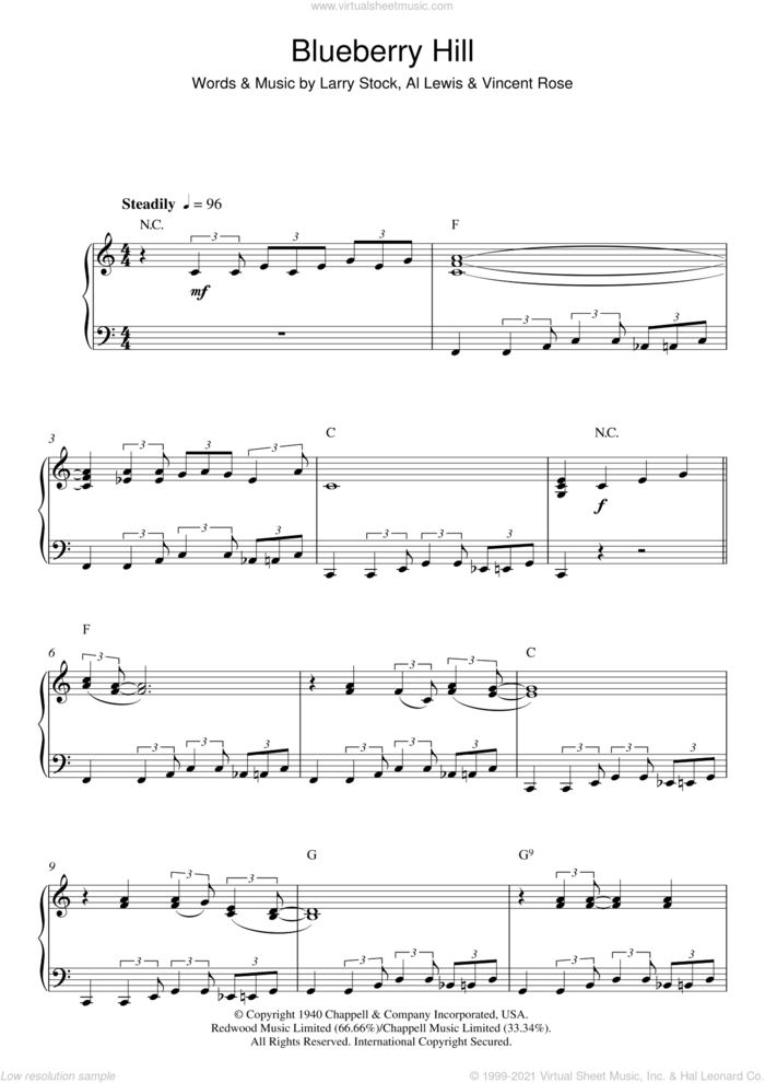Blueberry Hill sheet music for piano solo by Fats Domino, Al Lewis, Larry Stock and Vincent Rose, intermediate skill level