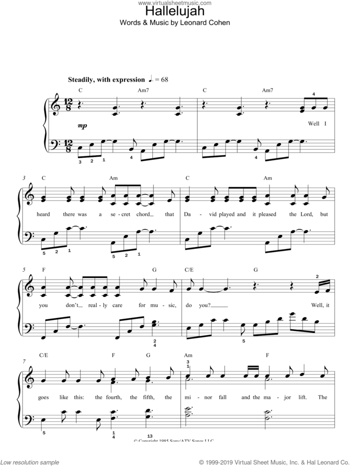 Hallelujah sheet music for piano solo by Jeff Buckley and Leonard Cohen, easy skill level