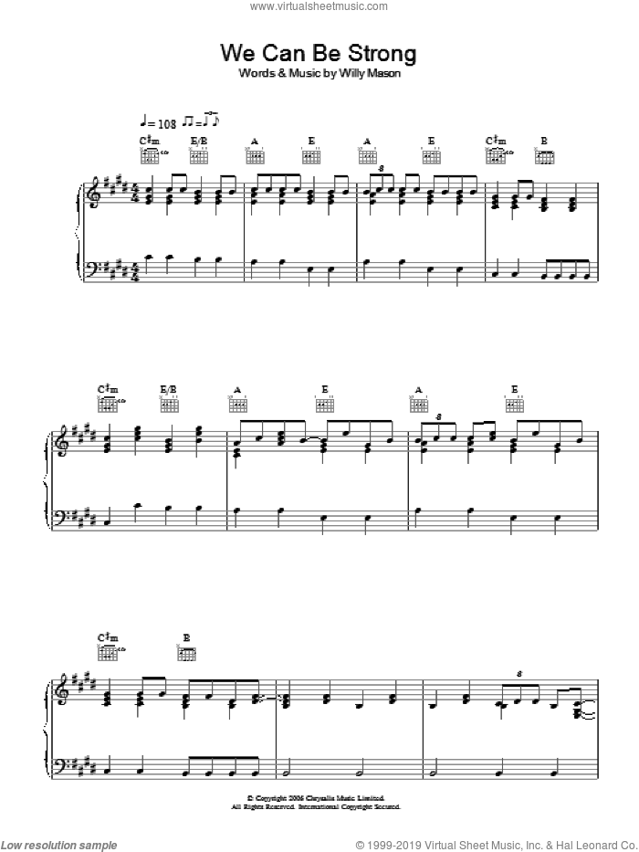 We Can Be Strong sheet music for voice, piano or guitar by Willy Mason, intermediate skill level
