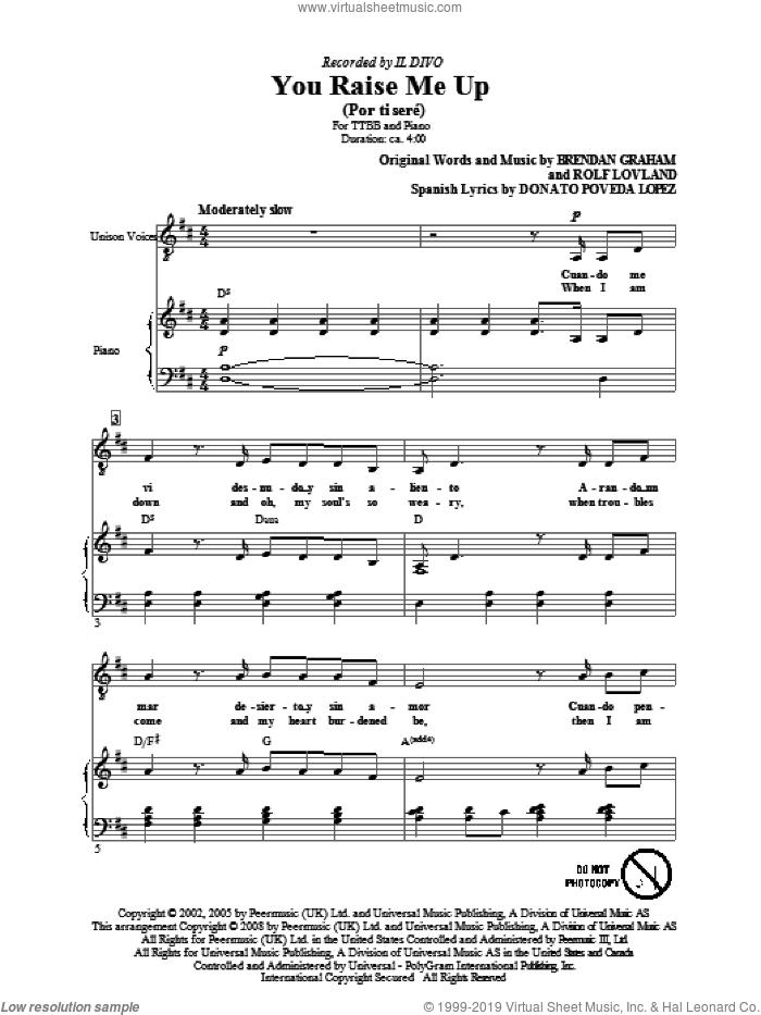 You Raise Me Up sheet music for choir (TTBB: tenor, bass) by Il Divo, Brendan Graham and Rolf Lovland, intermediate skill level