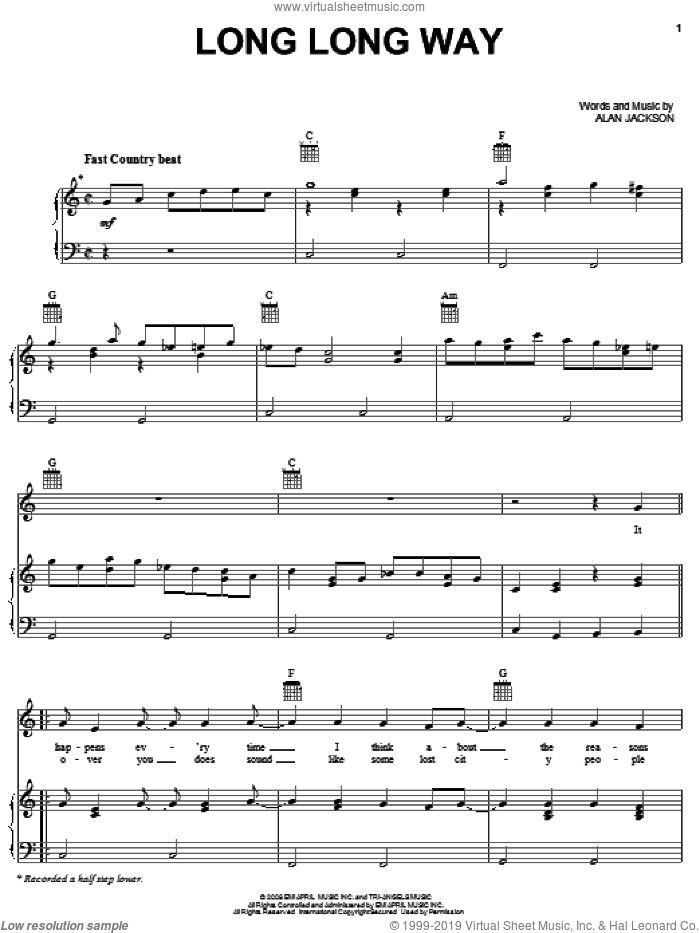 Long Long Way sheet music for voice, piano or guitar by Alan Jackson, intermediate skill level