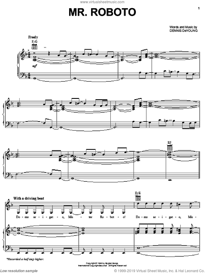 Mr. Roboto sheet music for voice, piano or guitar by Styx and Dennis DeYoung, intermediate skill level