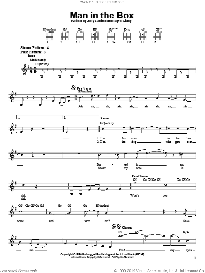 Man In The Box sheet music for guitar solo (chords) by Alice In Chains, Jerry Cantrell, Layne Staley, Michael Starr and Sean Kinney, easy guitar (chords)