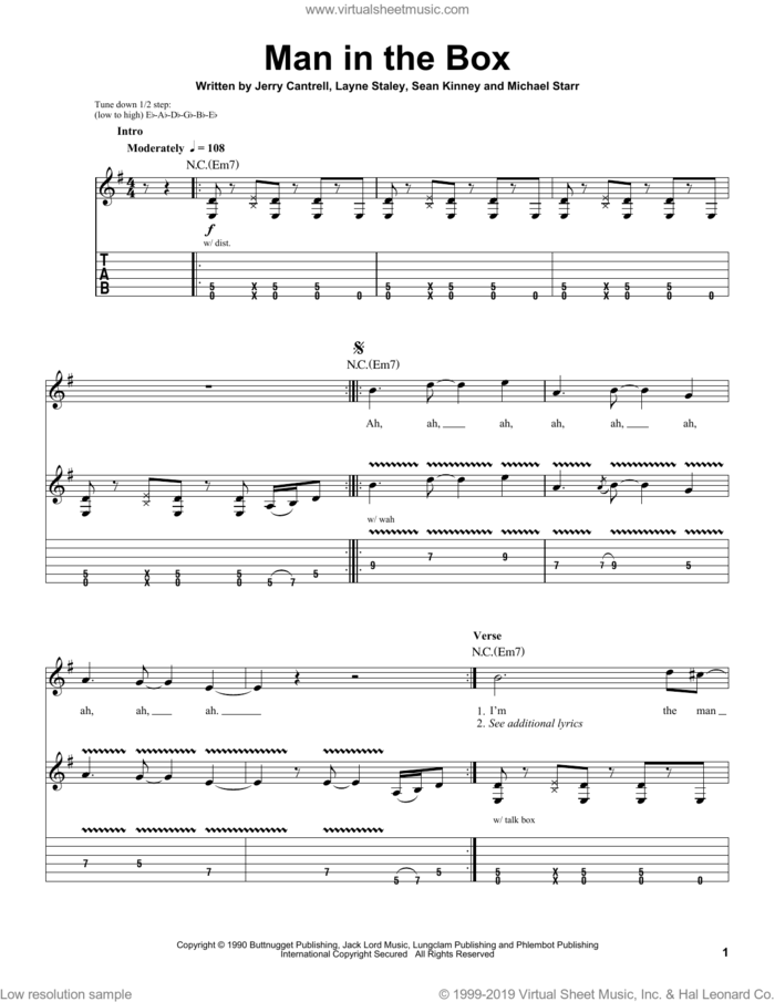Man In The Box sheet music for guitar (tablature, play-along) by Alice In Chains, Jerry Cantrell, Layne Staley, Michael Starr and Sean Kinney, intermediate skill level