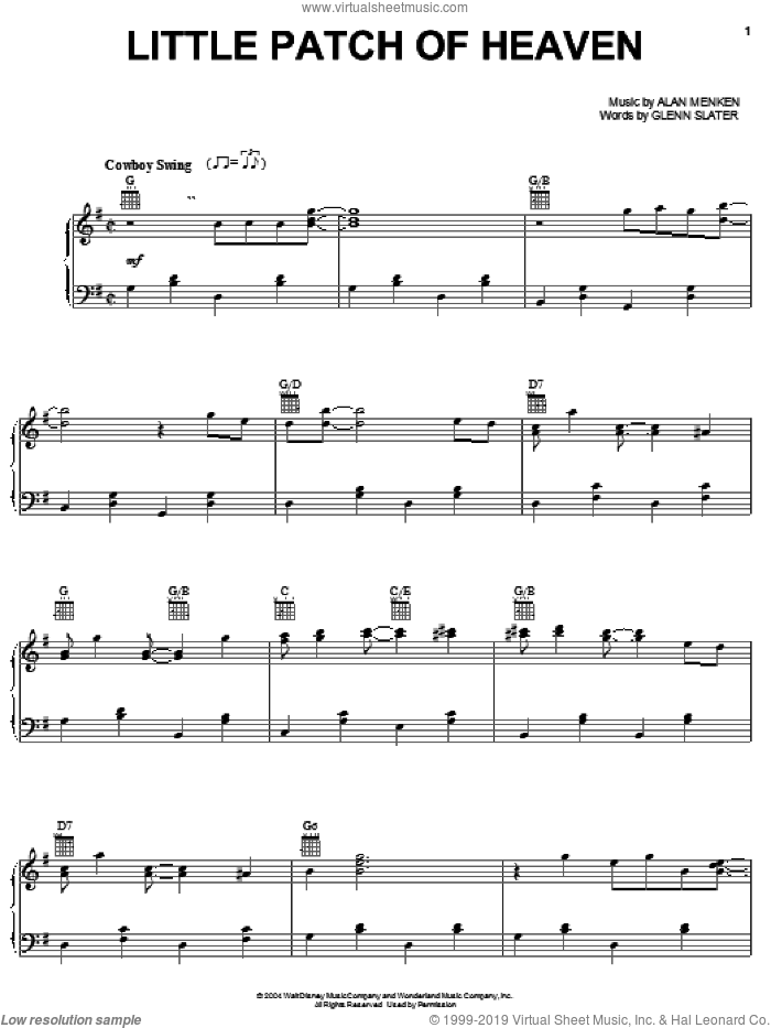 Little Patch Of Heaven sheet music for voice, piano or guitar by K.D. Lang, Home On The Range (Movie), Alan Menken and Glenn Slater, intermediate skill level