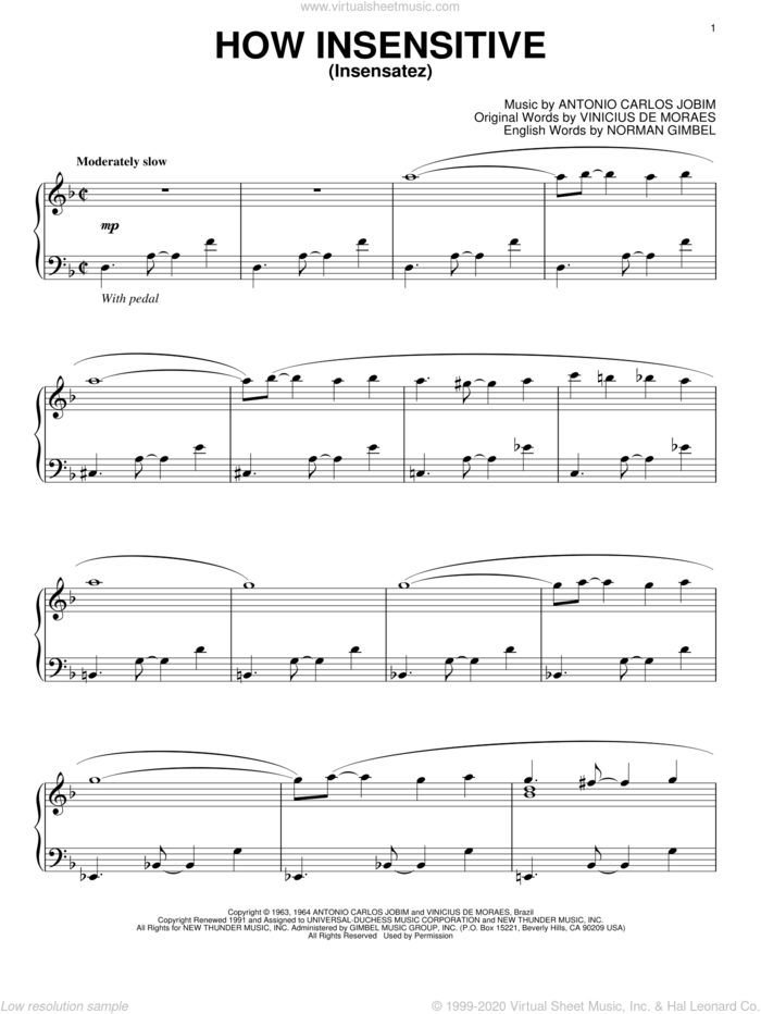 How Insensitive (Insensatez) sheet music for piano solo by Antonio Carlos Jobim, Norman Gimbel and Vinicius de Moraes, intermediate skill level