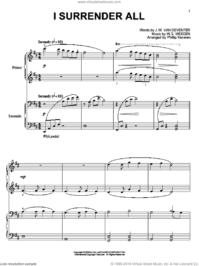 I Surrender All sheet music for piano four hands by Judson W. Van De Venter, Phillip Keveren and Winfield S. Weeden, intermediate skill level