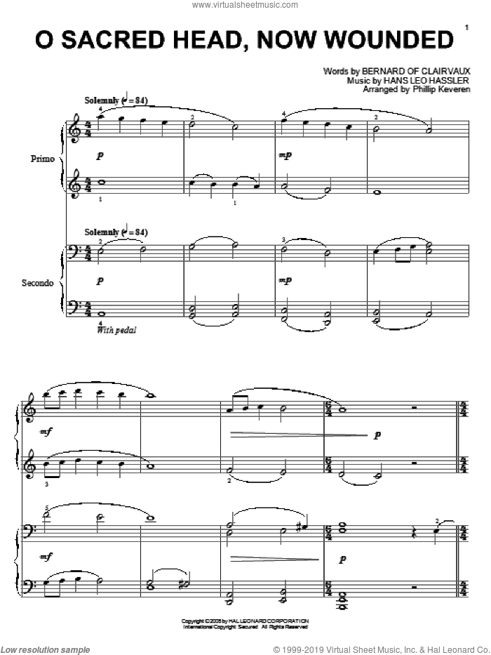 O Sacred Head, Now Wounded sheet music for piano four hands by Bernard of Clairvaux, Phillip Keveren, Hans Leo Hassler and James Alexander, intermediate skill level