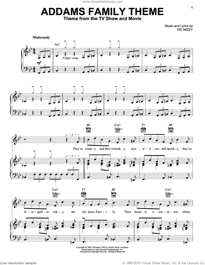 The Addams Family Theme sheet music for voice, piano or guitar by Vic Mizzy and The Addams Family (Musical), intermediate skill level