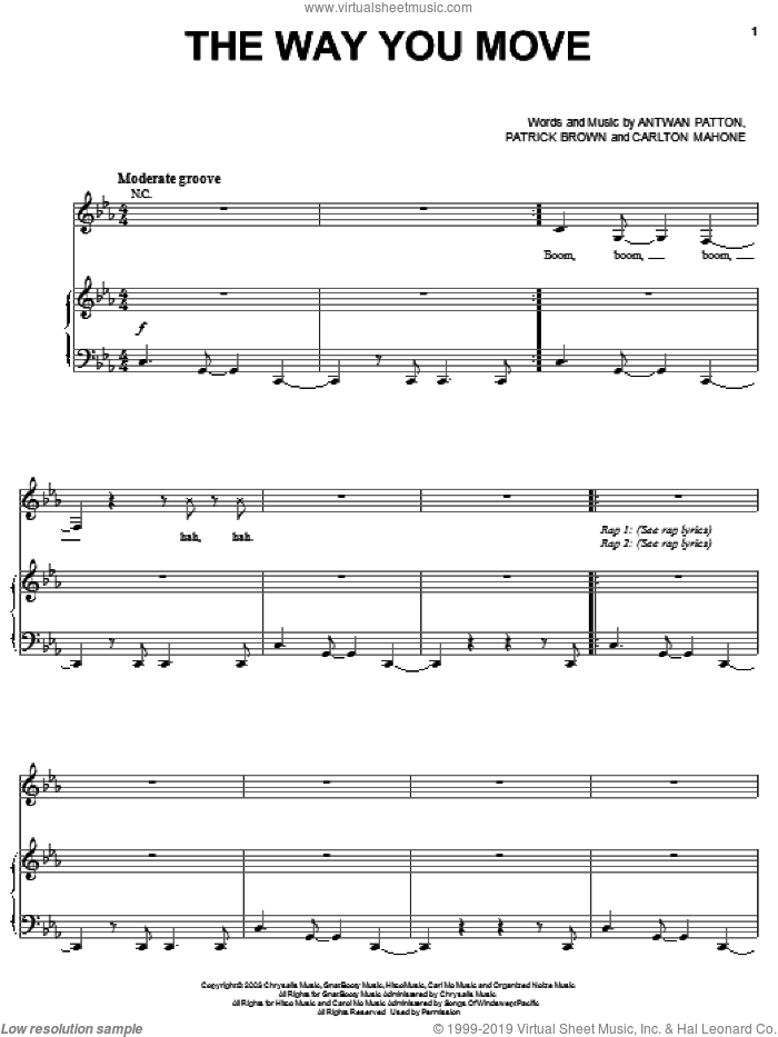 The Way You Move sheet music for voice, piano or guitar by OutKast, Sleepy Brown, Antwon Patton, Cartlon Mahone and Patrick Brown, intermediate skill level