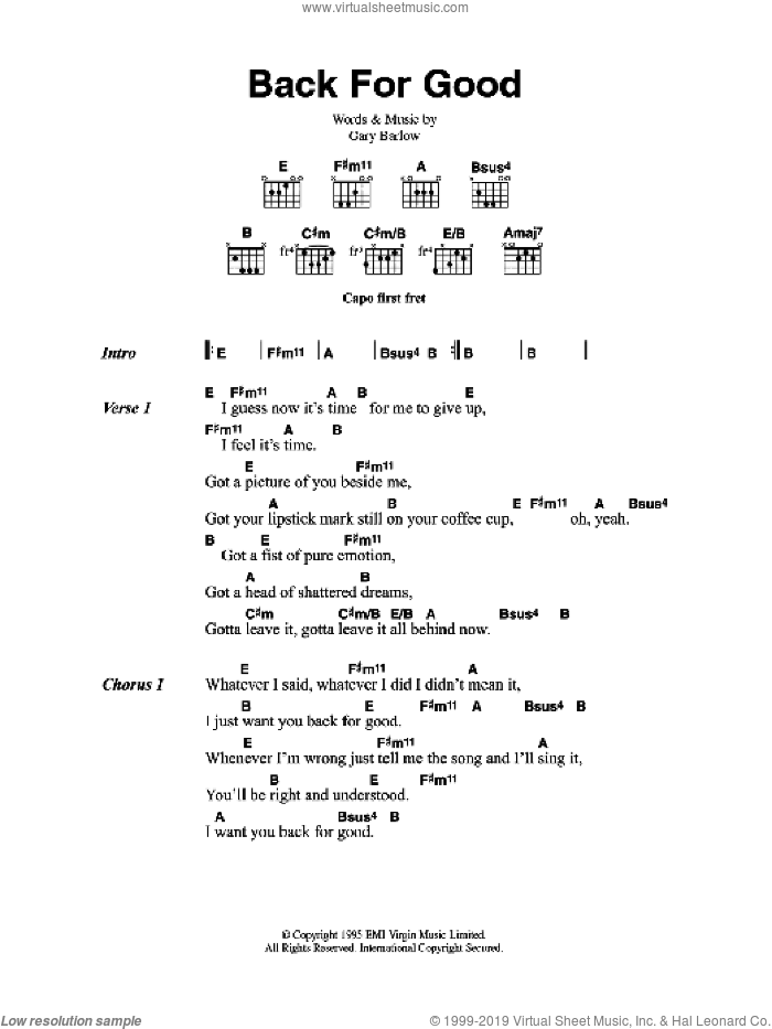 Back For Good sheet music for guitar (chords) by Take That and Gary Barlow, intermediate skill level