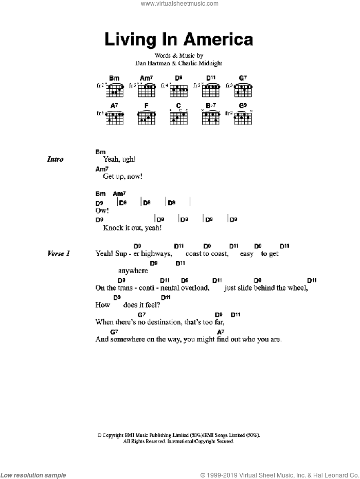 Living In America sheet music for guitar (chords) by James Brown, Charlie Midnight and Dan Hartman, intermediate skill level