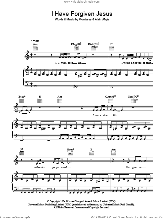 I Have Forgiven Jesus sheet music for voice, piano or guitar by Steven Morrissey and Alain Whyte, intermediate skill level