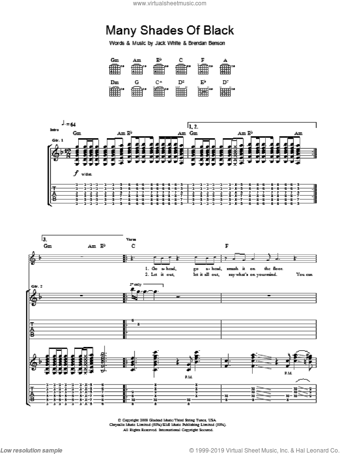 Many Shades Of Black sheet music for guitar (tablature) by The Raconteurs, Brendan Benson and Jack White, intermediate skill level