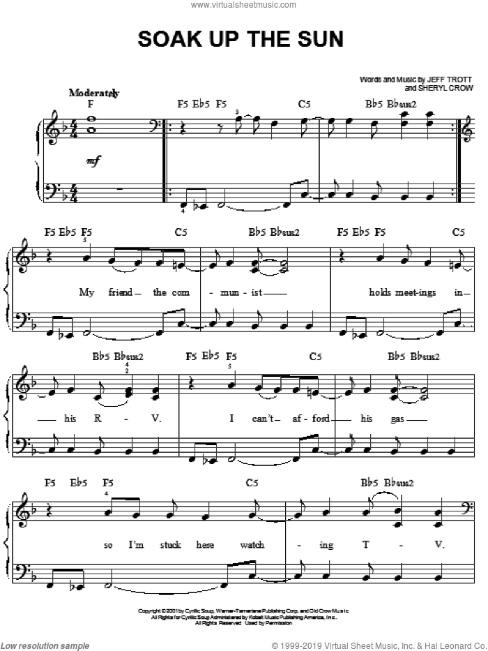 Soak Up The Sun sheet music for piano solo by Sheryl Crow and Jeff Trott, easy skill level