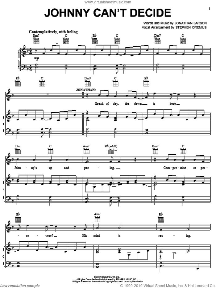 Johnny Can't Decide sheet music for voice, piano or guitar by Jonathan Larson and Tick, Tick...Boom! (Musical), intermediate skill level