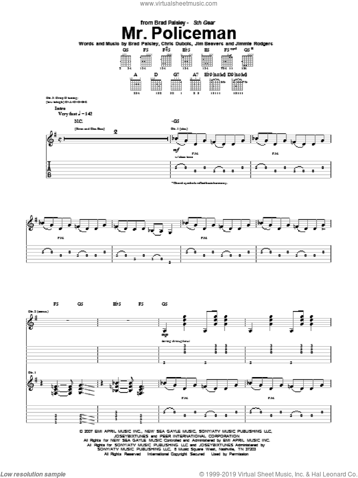 Mr. Policeman sheet music for guitar (tablature) by Brad Paisley, Chris DuBois, Jim Beavers and Jimmie Rodgers, intermediate skill level