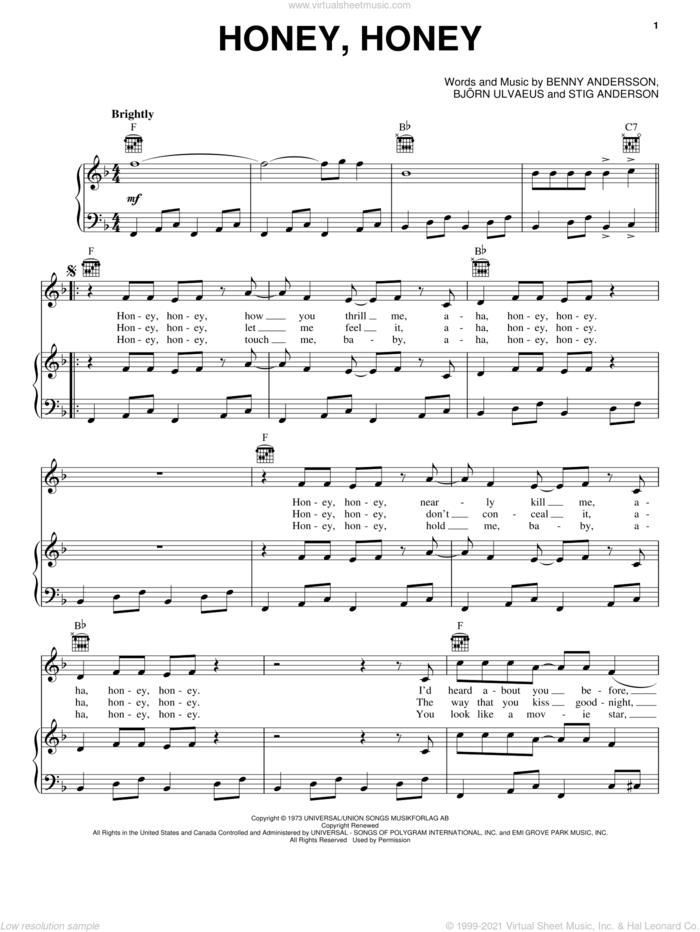 Honey, Honey sheet music for voice, piano or guitar by ABBA, Mamma Mia! (Movie), Benny Andersson, Bjorn Ulvaeus and Stig Anderson, intermediate skill level