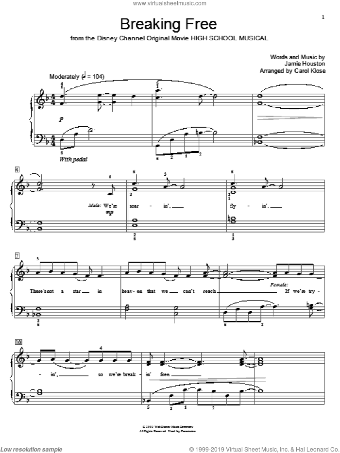Breaking Free (from High School Musical) sheet music for piano solo (elementary) by Jamie Houston, Carol Klose, High School Musical, Miscellaneous and Zac Efron and Vanessa Anne Hudgens, beginner piano (elementary)