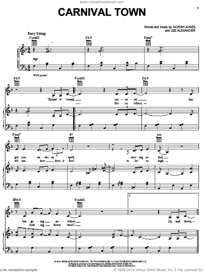 Carnival Town sheet music for voice, piano or guitar by Norah Jones and Lee Alexander, intermediate skill level