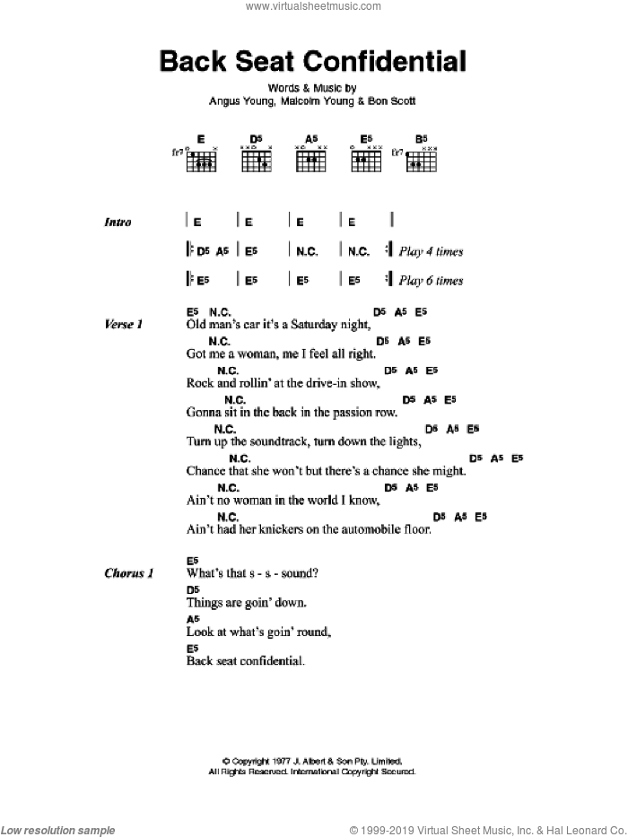 Back Seat Confidential sheet music for guitar (chords) by AC/DC, Angus Young, Bon Scott and Malcolm Young, intermediate skill level