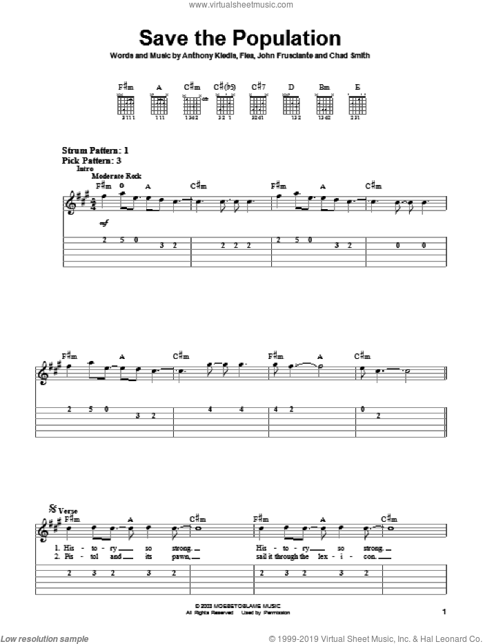 Save The Population sheet music for guitar solo (easy tablature) by Red Hot Chili Peppers, Anthony Kiedis, Flea and John Frusciante, easy guitar (easy tablature)