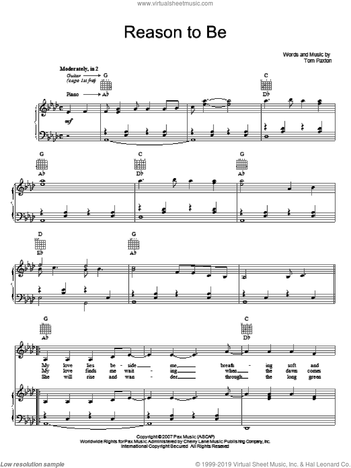 Reason To Be sheet music for voice, piano or guitar by Tom Paxton, intermediate skill level